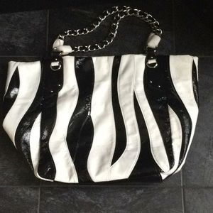 Vegan Black & White Slouchy Bag